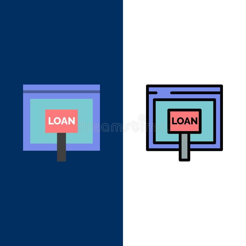 Πίστωση, Διαδίκτυο, δάνειο, χρήματα, σε απευθείας σύνδεση εικονίδια Επίπεδος και γραμμή γέμισε το καθορισμένο διανυσματικό μπλε υ ελεύθερη απεικόνιση δικαιώματος