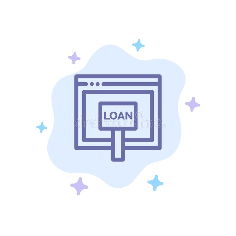 Πίστωση, Διαδίκτυο, δάνειο, χρήματα, σε απευθείας σύνδεση μπλε εικονίδιο στο αφηρημένο υπόβαθρο σύννεφων διανυσματική απεικόνιση