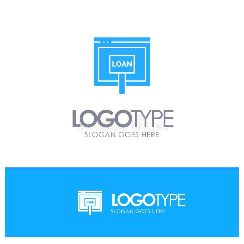 Πίστωση, Διαδίκτυο, δάνειο, χρήματα, σε απευθείας σύνδεση μπλε στερεό λογότυπο με τη θέση για το tagline απεικόνιση αποθεμάτων