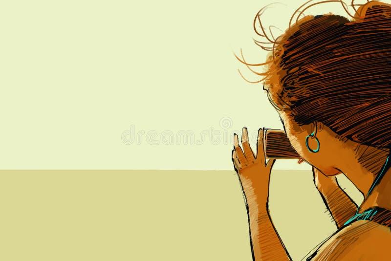 Πίσω άποψη της γυναίκας που παίρνει τη φωτογραφία διανυσματική απεικόνιση