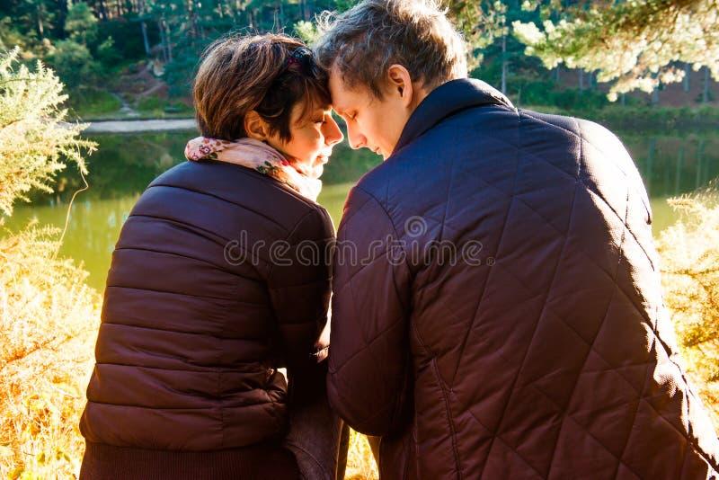 Πίσω άποψη της καλής συνεδρίασης ανδρών και γυναικών ζευγών κοντά στη δασική λίμνη που αγκαλιάζει και που χαλαρώνει Υπαίθριες ένν στοκ φωτογραφία με δικαίωμα ελεύθερης χρήσης