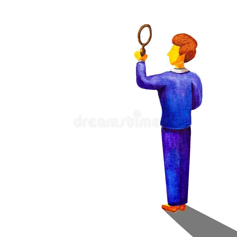 Πίσω άποψη του επιχειρηματία ή του ιδιωτικού αστυνομικού στην μπλε ενίσχυση εκμετάλλευσης κοστουμιών - γυαλί Μακριά γκρίζα σκιά Έ διανυσματική απεικόνιση