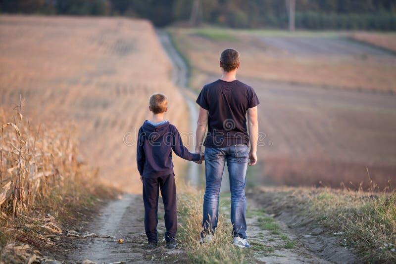 Πίσω άποψη του νέων πατέρα και του γιου που περπατούν μαζί να κρατήσει τα χέρια στοκ εικόνες
