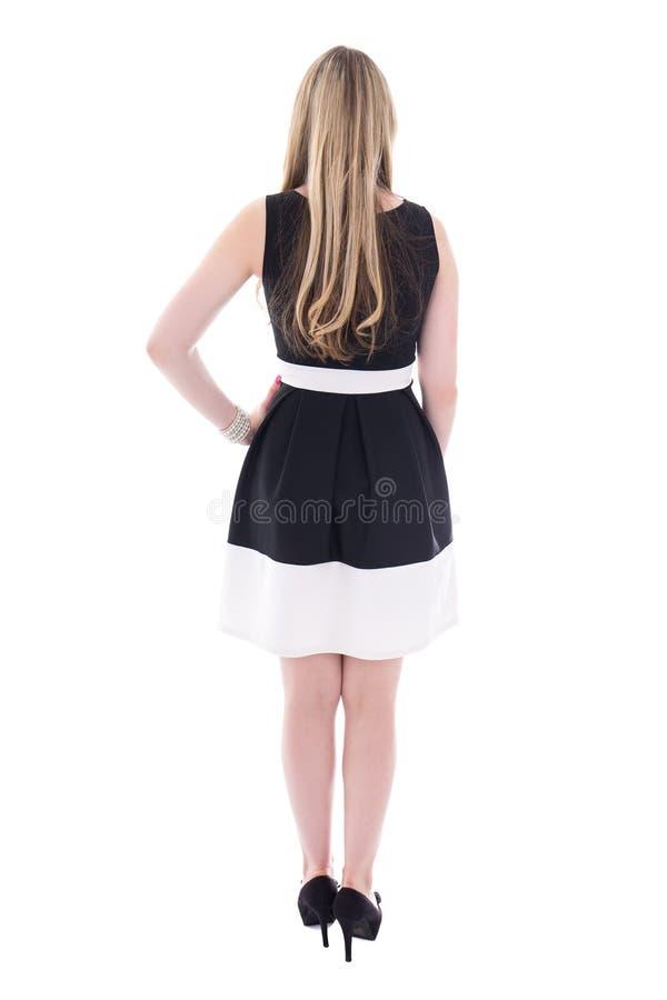 Πίσω άποψη των όμορφων νεολαιών συν τη γυναίκα μεγέθους στο μαύρο isol φορεμάτων στοκ φωτογραφίες με δικαίωμα ελεύθερης χρήσης