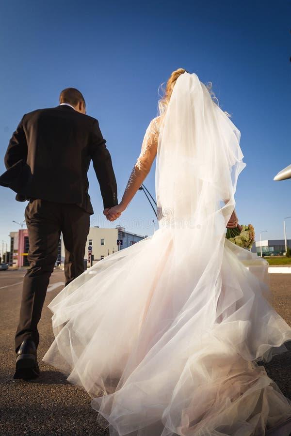 Πίσω άποψη των newlyweds που περπατούν κατά μήκος του δρόμου στοκ εικόνα με δικαίωμα ελεύθερης χρήσης