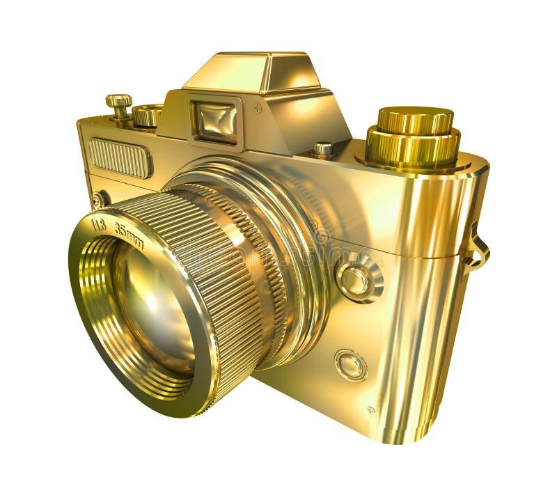 πίσω αναδρομική όψη φωτογραφιών φωτογραφικών μηχανών μπροστινή χρυσή ελεύθερη απεικόνιση δικαιώματος