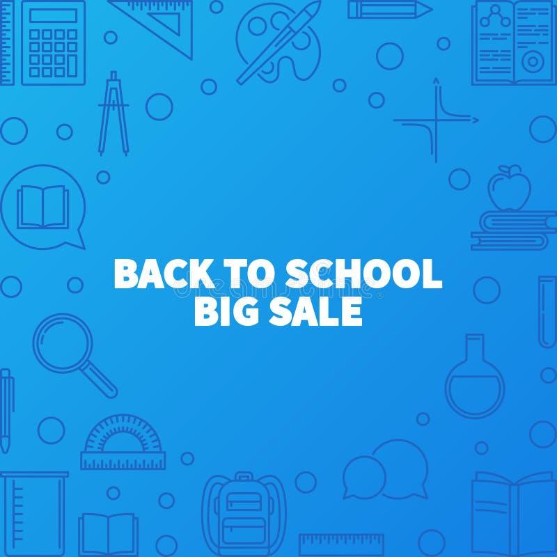 Πίσω απεικόνιση ή το έμβλημα περιλήψεων σχολικής στη μεγάλο πώλησης διανυσματικό ελεύθερη απεικόνιση δικαιώματος