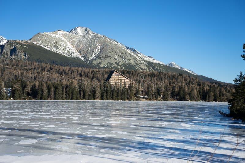 πίσω από τα υψηλά tatras της Σλοβακίας pleso λιμνών strbske στοκ εικόνες με δικαίωμα ελεύθερης χρήσης