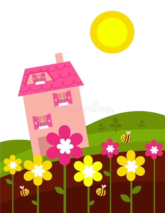 πίσω από τη ρόδινη άνοιξη σπιτιών λουλουδιών διανυσματική απεικόνιση