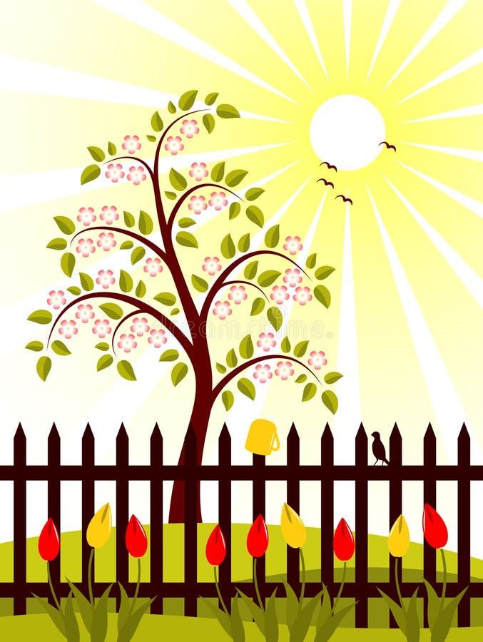 πίσω από το ανθίζοντας δέντρ& απεικόνιση αποθεμάτων