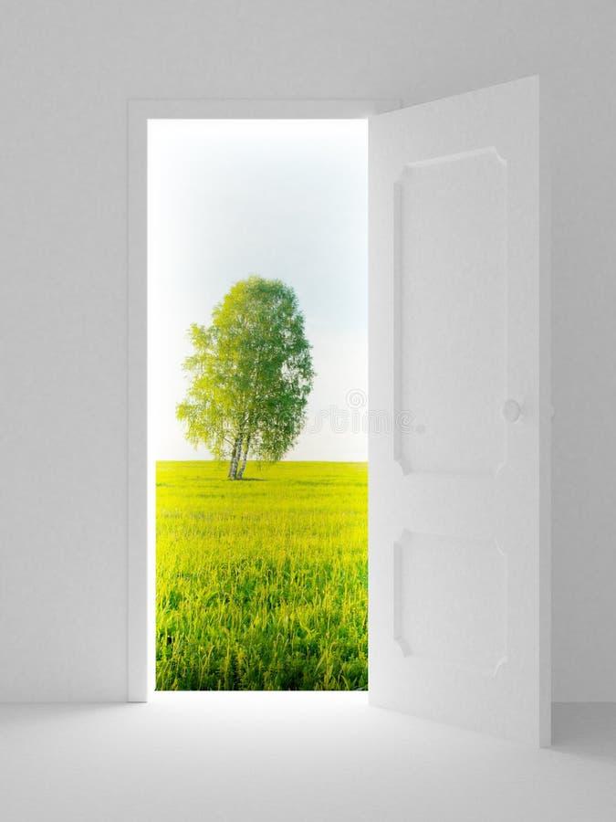 πίσω από το τοπίο πορτών ανο&io ελεύθερη απεικόνιση δικαιώματος
