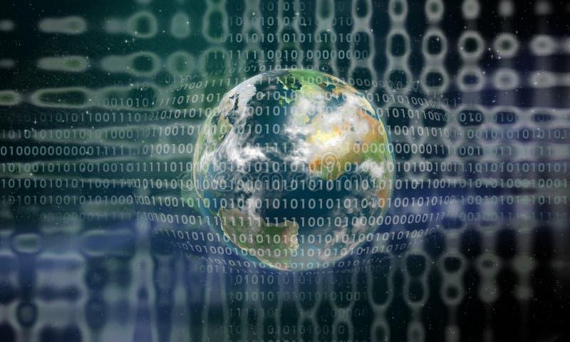 πίσω από το ψηφιακό γήινο δίκ&t διανυσματική απεικόνιση