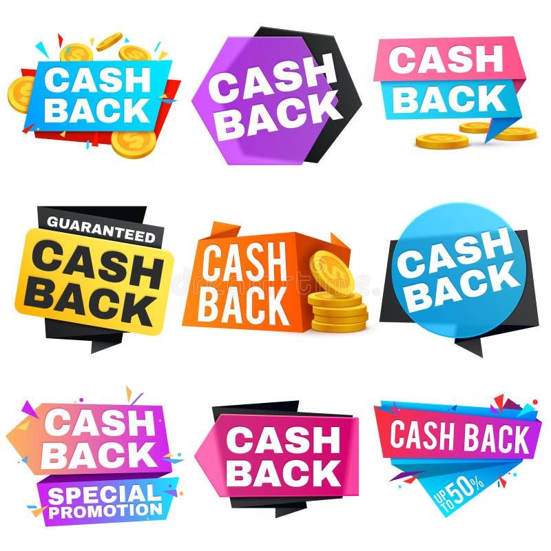 Πίσω διανυσματικά εμβλήματα πώλησης μετρητών με τις κορδέλλες Εικονίδια επιστροφής αποταμίευσης και χρημάτων ελεύθερη απεικόνιση δικαιώματος