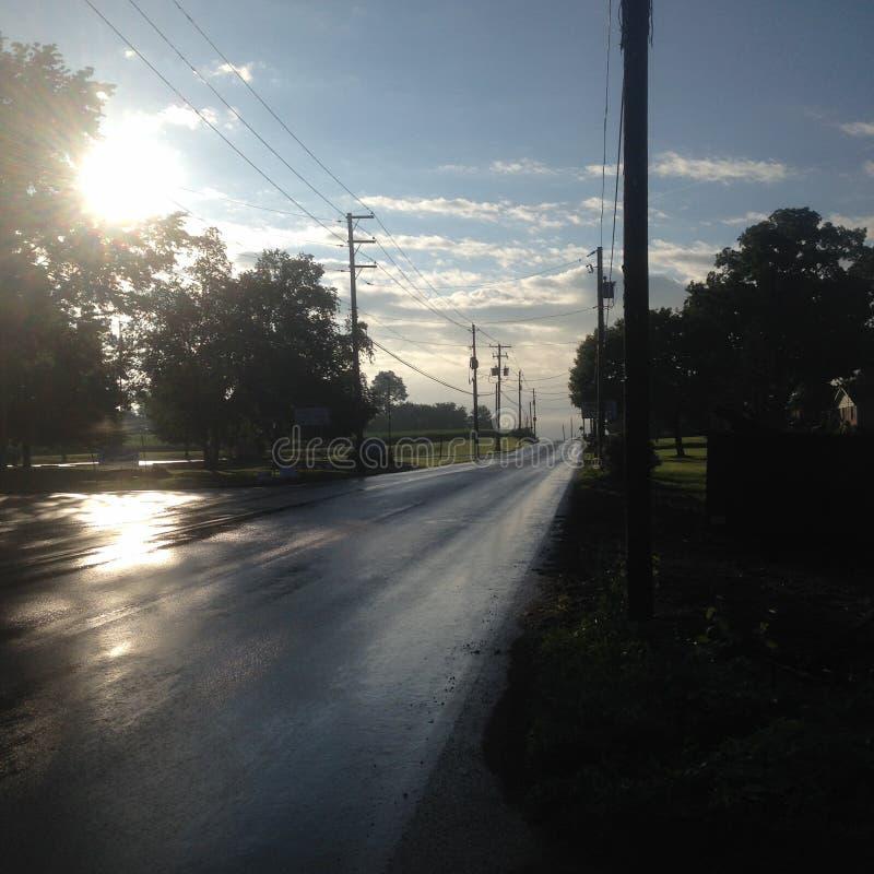 Πίσω δρόμοι άποψης της Πενσυλβανίας μέσω cornfields στοκ εικόνες