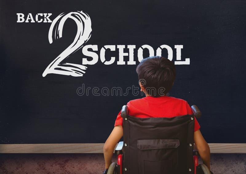 Πίσω κείμενο 2 σχολείων στον πίνακα με το με ειδικές ανάγκες αγόρι στην αναπηρική καρέκλα στοκ εικόνες με δικαίωμα ελεύθερης χρήσης
