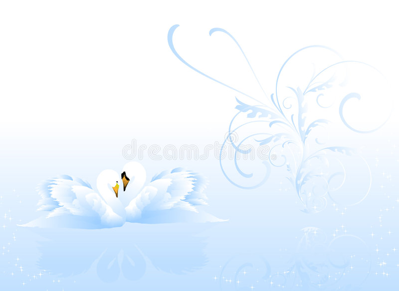 πίσω λευκό κύκνων ζευγών floral απεικόνιση αποθεμάτων
