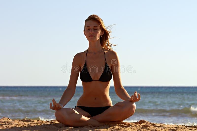 πίσω παραλία περισυλλογής λωτού στη γιόγκα γυναικών στοκ φωτογραφία με δικαίωμα ελεύθερης χρήσης