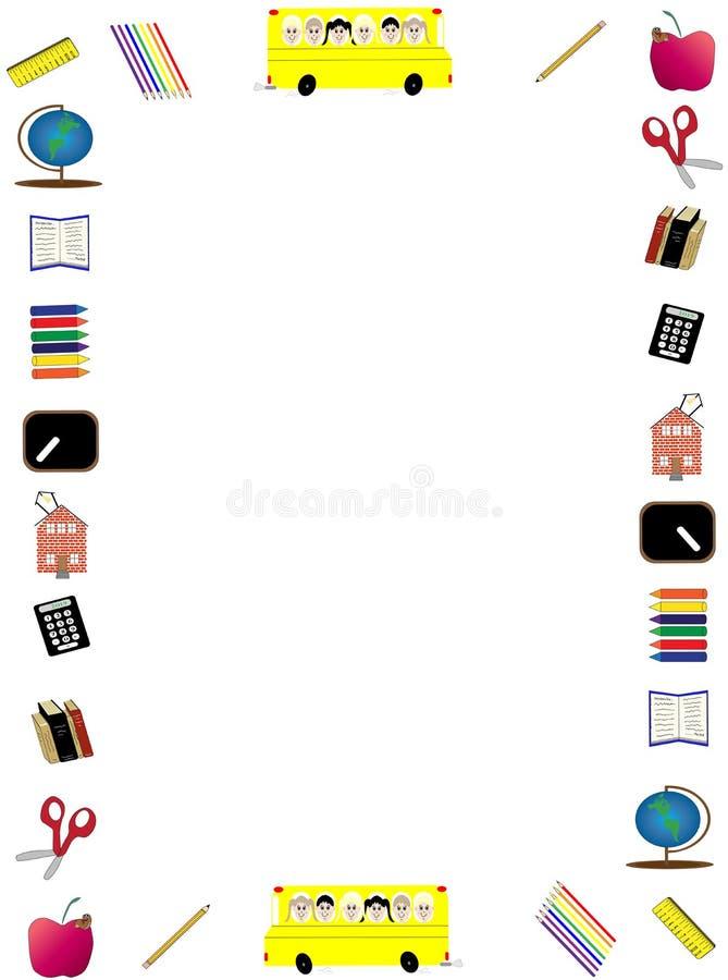 Πίσω πλαίσιο σχολικών στο κάθετο ιπτάμενων απεικόνιση αποθεμάτων