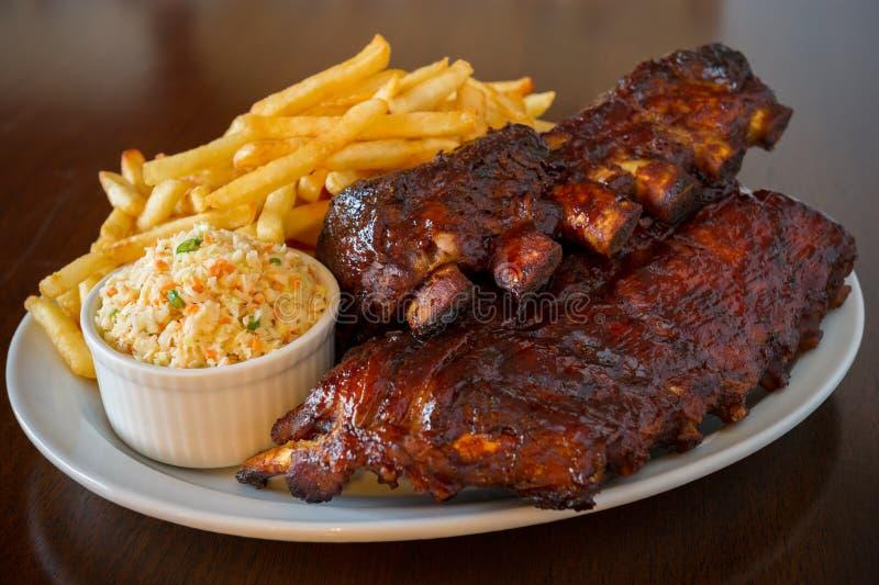 πίσω πλευρά χοιρινού κρέατος γεύματος στοκ φωτογραφία