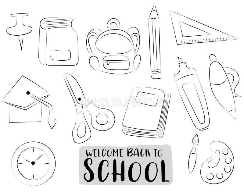 Πίσω στα σχολικά εικονίδια καθορισμένα Γραπτά συρμένα doodle χέρι αντικείμενα περιλήψεων Χρωματίζοντας παιχνίδι σελίδων διανυσματική απεικόνιση