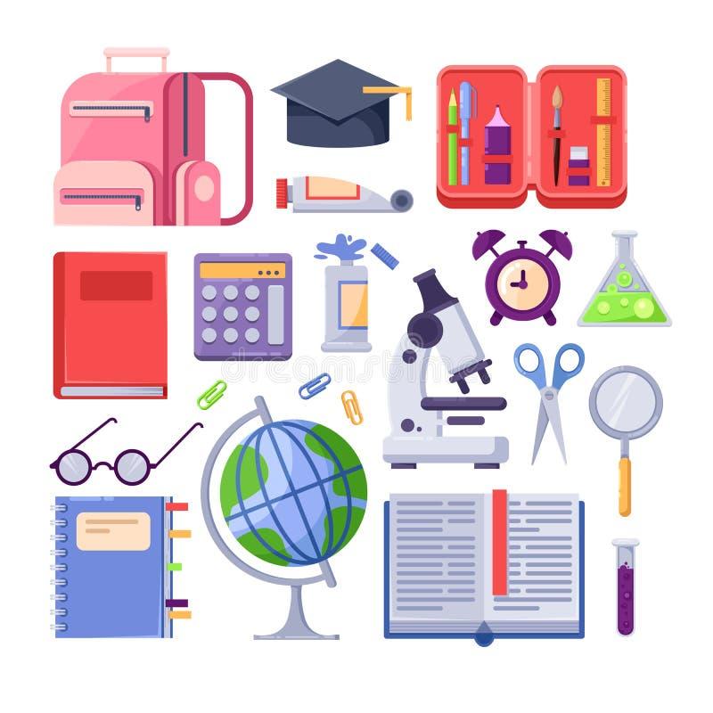 Πίσω στα σχολικά ζωηρόχρωμα εικονίδια και τα διανυσματικά στοιχεία σχεδίου Προμήθειες και εργαλεία χαρτικών εκπαίδευσης στο άσπρο ελεύθερη απεικόνιση δικαιώματος