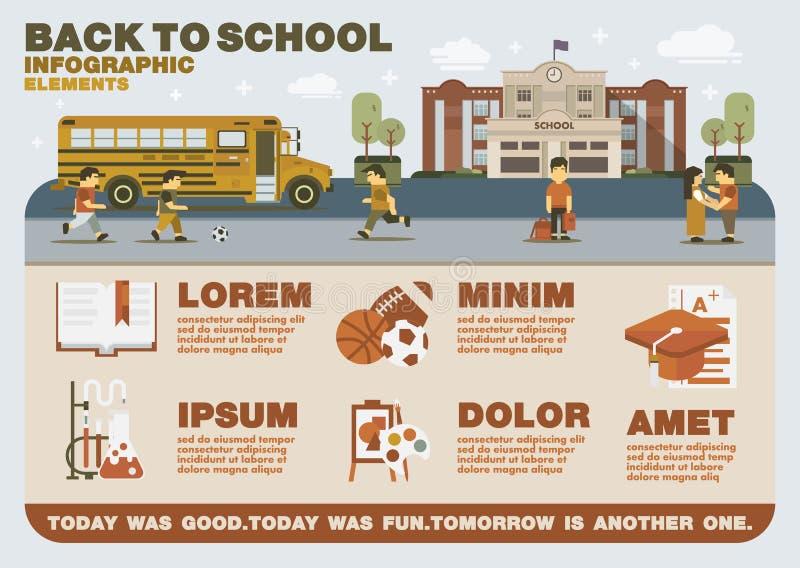 Πίσω στα σχολικά infographic στοιχεία διανυσματική απεικόνιση