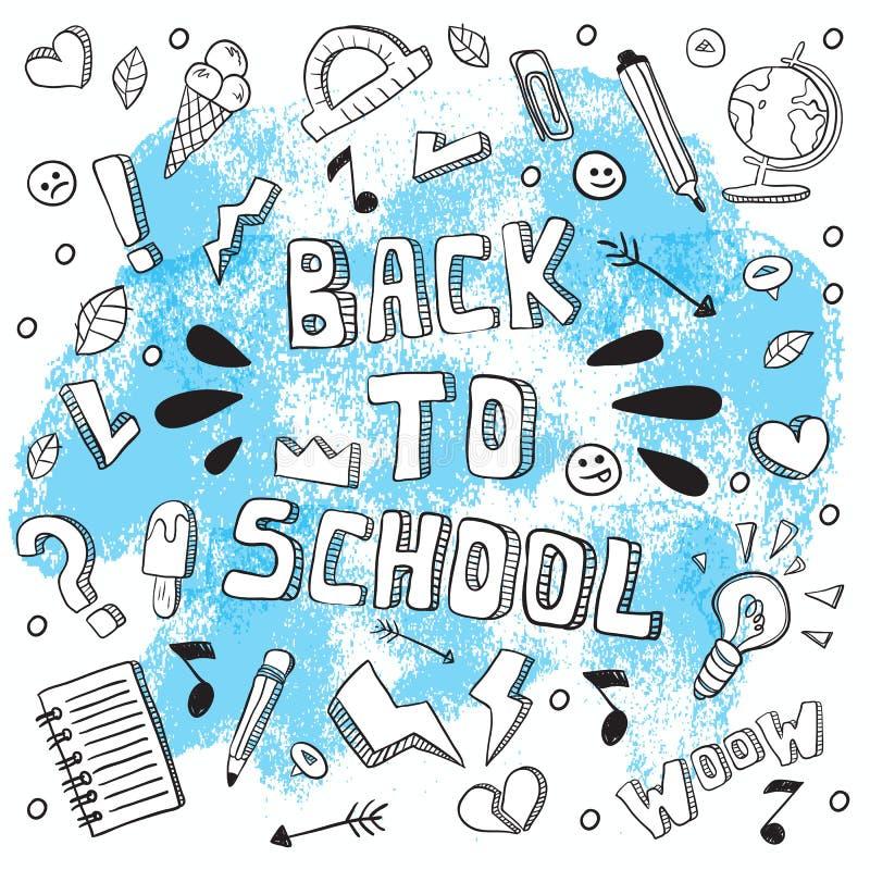 Πίσω στη σχολική αστεία διανυσματική απεικόνιση Γραπτές σχολικές προμήθειες και δημιουργικά στοιχεία Έργο τέχνης ύφους Doodle Ea διανυσματική απεικόνιση