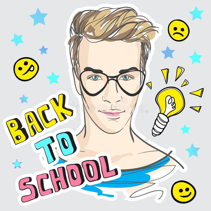 Πίσω στη σχολική αστεία διανυσματική απεικόνιση Ζωηρόχρωμο έργο τέχνης ύφους Doodle με τον καθιερώνοντα τη μόδα έφηβο και τα εκλε απεικόνιση αποθεμάτων