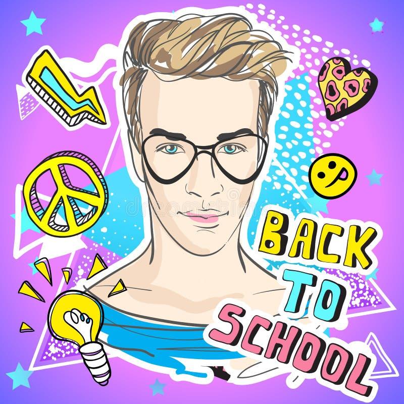 Πίσω στη σχολική αστεία διανυσματική απεικόνιση Ζωηρόχρωμο έργο τέχνης ύφους Doodle με τον καθιερώνοντα τη μόδα έφηβο και τα εκλε διανυσματική απεικόνιση
