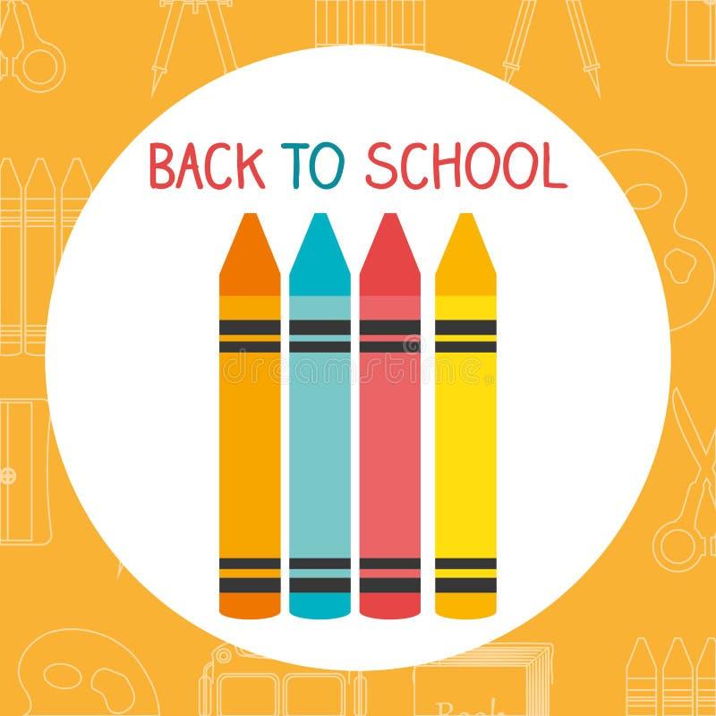 Πίσω στη σχολική ετικέτα με τα κραγιόνια χρωμάτων ελεύθερη απεικόνιση δικαιώματος