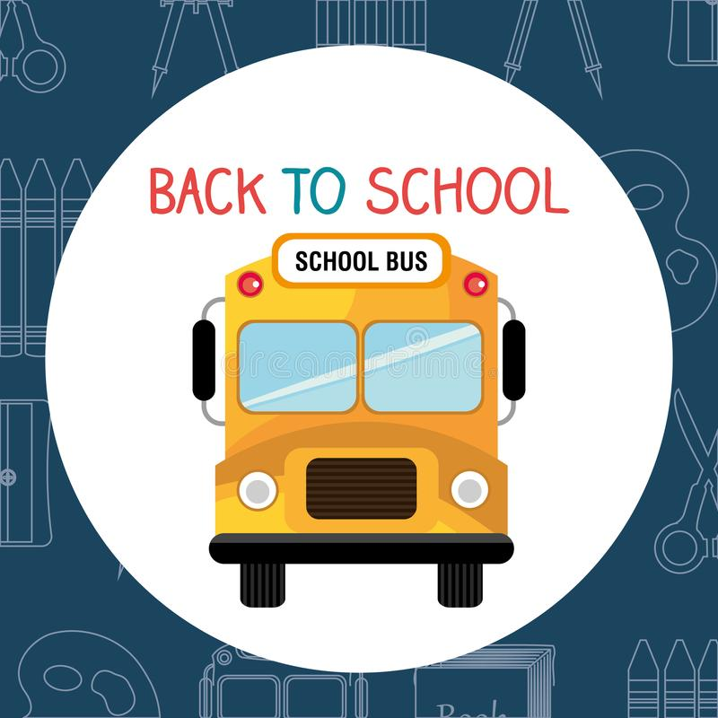 Πίσω στη σχολική ετικέτα με το λεωφορείο ελεύθερη απεικόνιση δικαιώματος