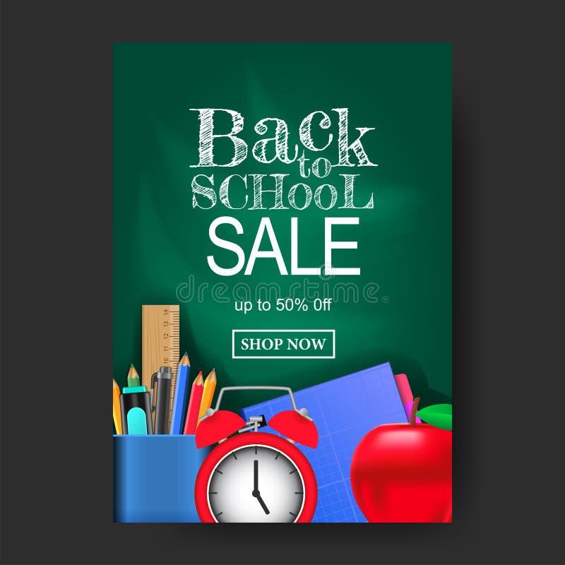 A4 πίσω στη σχολική πώληση προσφέρετε τη σύσταση εμβλημάτων με στάσιμο με το πράσινο υπόβαθρο πινάκων κιμωλίας διανυσματική απεικόνιση