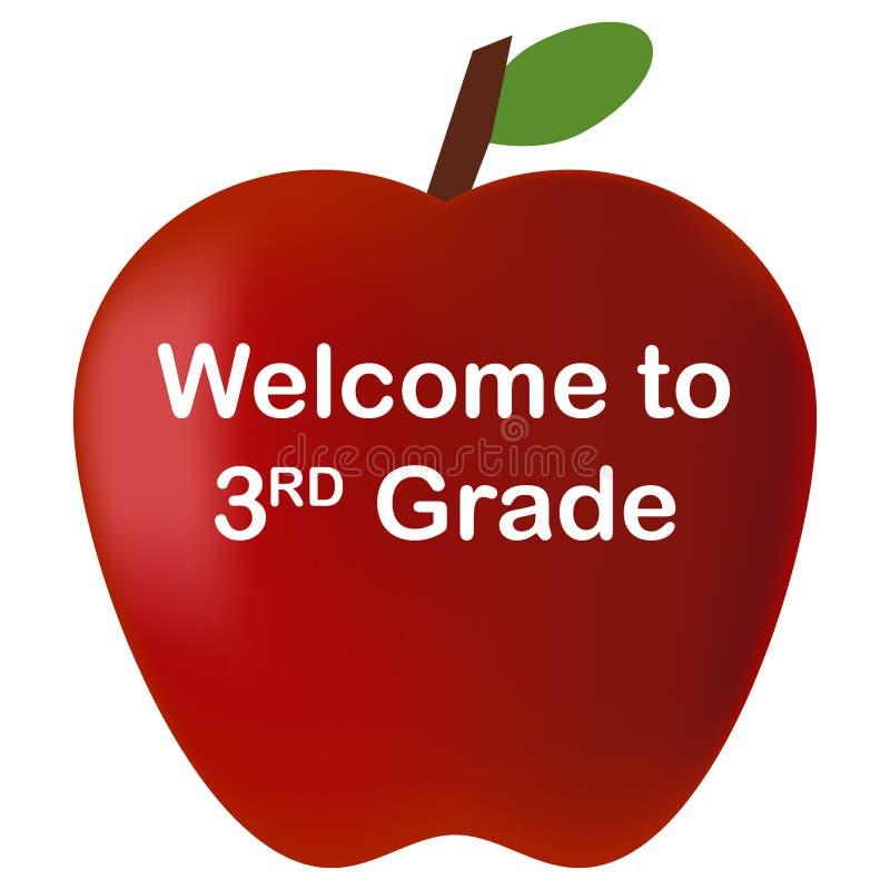Πίσω στη σχολική υποδοχή στο 3$ο κόκκινο μήλο βαθμού διανυσματική απεικόνιση