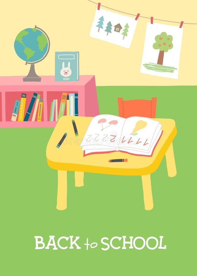 Πίσω στη σχολική κάρτα, σχέδιο αφισών Προσχολικό εσωτερικό τάξεων παιδικών σταθμών απεικόνιση αποθεμάτων