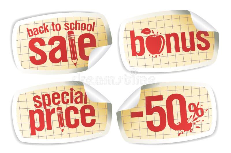Πίσω στις αυτοκόλλητες ετικέττες σχολικής πώλησης καθορισμένες ελεύθερη απεικόνιση δικαιώματος