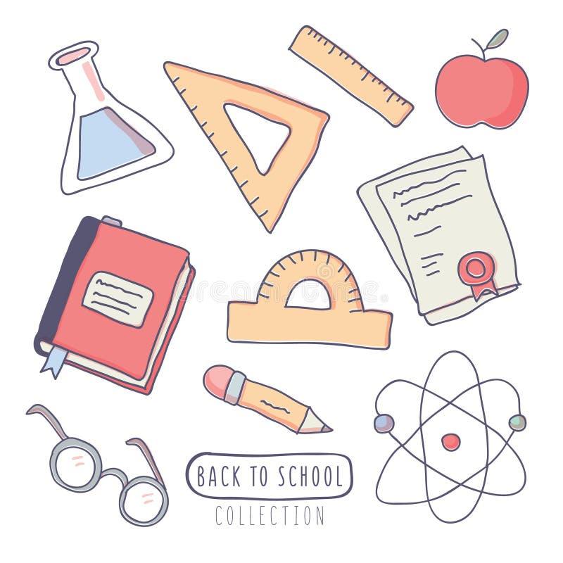 Πίσω στις σχολικές αυτοκόλλητες ετικέττες που τίθενται με τις σχολικές προμήθειες απεικόνιση αποθεμάτων