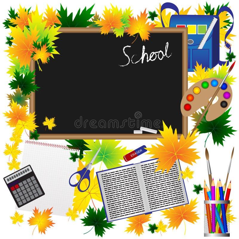 Πίσω στις σχολικές προμήθειες περιγραμματικό Doodles με τους στροβίλους Hand-Drawn Διανυσματικά φύλλα φθινοπώρου απεικόνισης διανυσματική απεικόνιση