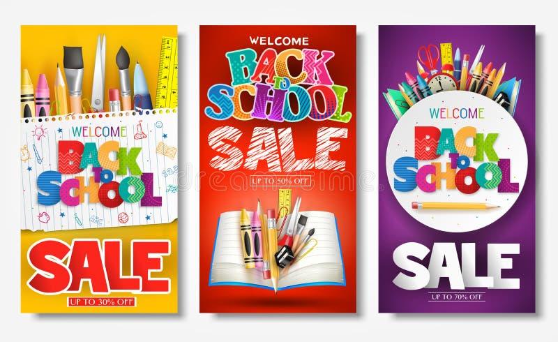 Πίσω στο δημιουργικές έμβλημα και την αφίσα αγγελιών σχολικής πώλησης που τίθενται με τους ζωηρόχρωμους τίτλους διανυσματική απεικόνιση