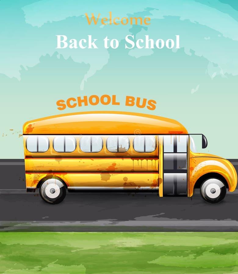 Πίσω στο διάνυσμα καρτών σχολικού watercolor Κίτρινα λεωφορείο και φύλλα Υπόβαθρα συμβόλων Math διανυσματική απεικόνιση