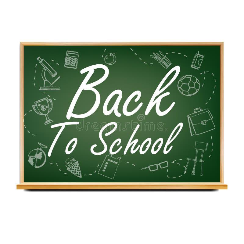 Πίσω στο διάνυσμα σχεδίου σχολικών εμβλημάτων Πράσινος Πίνακας τάξεων Αφίσα πώλησης 1 Σεπτεμβρίου Εκπαίδευση σχετική ρεαλιστικός ελεύθερη απεικόνιση δικαιώματος