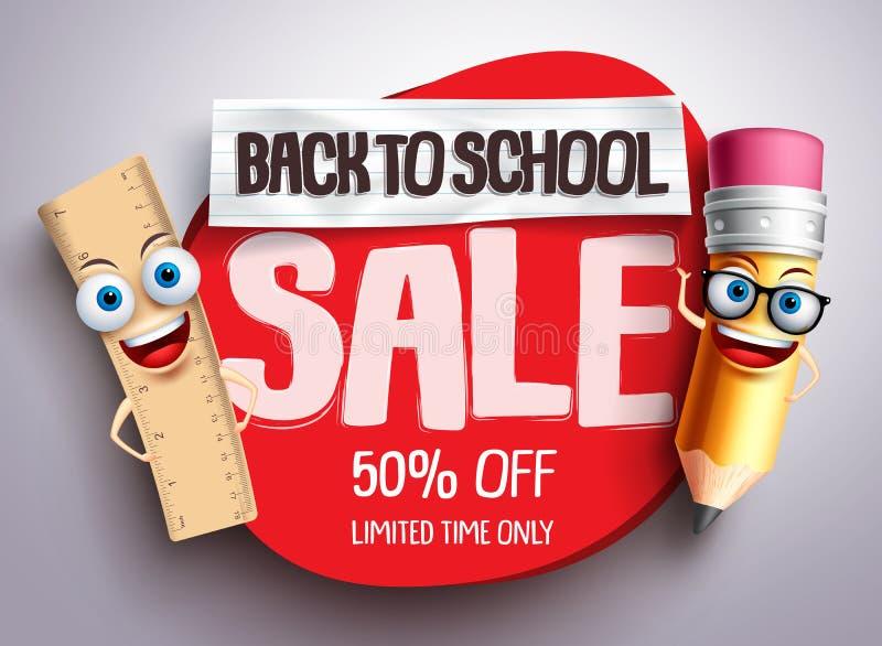 Πίσω στο διανυσματικό έμβλημα σχολικής πώλησης με τους αστείους σχολικούς χαρακτήρες απεικόνιση αποθεμάτων