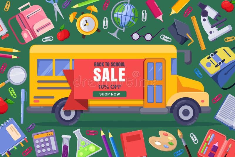 Πίσω στο διανυσματικό έμβλημα σχολικής πώλησης, πρότυπο αφισών Υπόβαθρο εκπαίδευσης με τις κίτρινες προμήθειες λεωφορείων και χαρ διανυσματική απεικόνιση