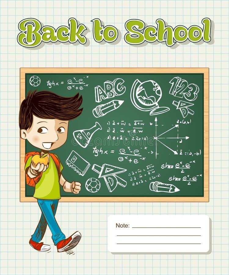 Πίσω στο παιδί κινούμενων σχεδίων σχολικής εκπαίδευσης. ελεύθερη απεικόνιση δικαιώματος