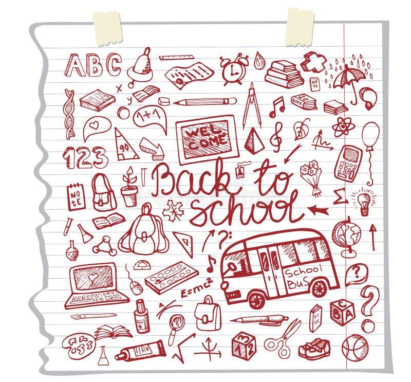 Πίσω στο περιγραμματικό σημειωματάριο σχολικών προμηθειών doodles διανυσματική απεικόνιση