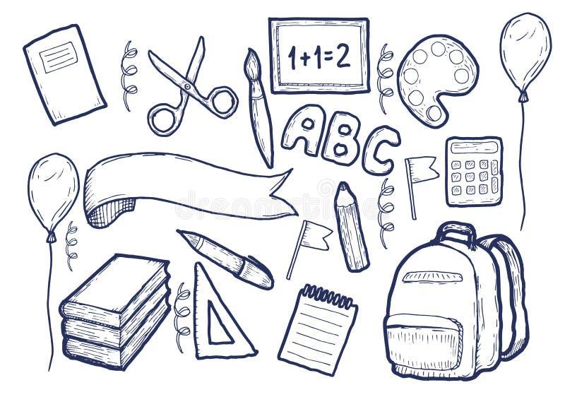 Πίσω στο περιγραμματικό σημειωματάριο Doodles σχολικών προμηθειών ελεύθερη απεικόνιση δικαιώματος