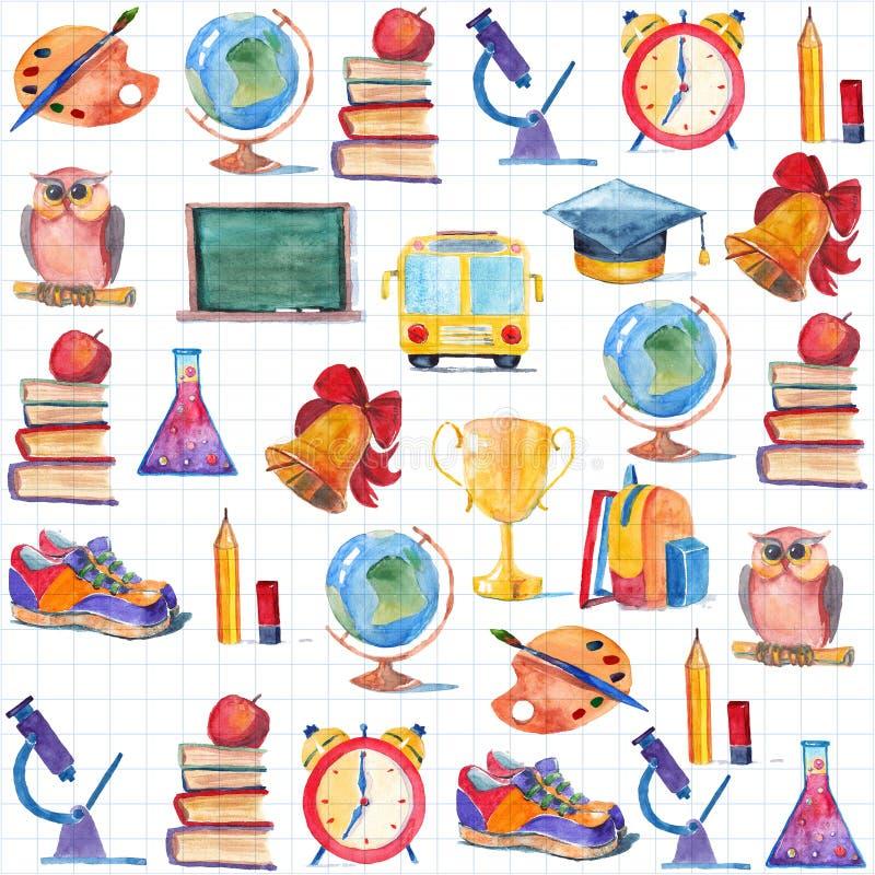Πίσω στο συρμένο χέρι σύνολο σχολικού Watercolor με τα στοιχεία εκπαίδευσης ελεύθερη απεικόνιση δικαιώματος