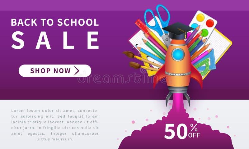 Πίσω στο σχέδιο εμβλημάτων σχολικού promo με τα εκπαιδευτικά στοιχεία και τις ρεαλιστικές σχολικές προμήθειες όπως τα μολύβια, βο διανυσματική απεικόνιση