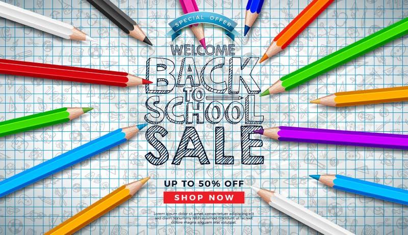 Πίσω στο σχέδιο σχολικής πώλησης με το ζωηρόχρωμο μολύβι και συρμένο χέρι Doodles στο τετραγωνικό υπόβαθρο πλέγματος r απεικόνιση αποθεμάτων