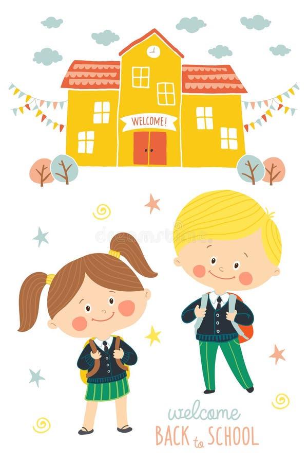 Πίσω στο σχέδιο σχολικών καρτών Παιδιά που πηγαίνουν στο σχολείο στις σχολικές στολές και με τις σχολικές τσάντες Προσχολικά κορί διανυσματική απεικόνιση