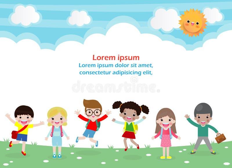 Πίσω στο σχολείο, έννοια εκπαίδευσης, σχολικά παιδιά, τα ευτυχή παιδιά πηγαίνουν στο σχολείο, πρότυπο για τη διαφήμιση του φυλλάδ ελεύθερη απεικόνιση δικαιώματος